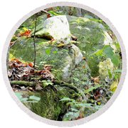 Moss Rock 3 Round Beach Towel
