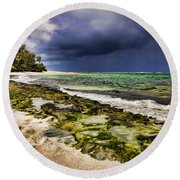 Moss Rocks Round Beach Towel