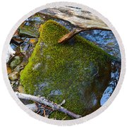 Mossy Rock Round Beach Towel