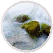 Mossy Rocks Round Beach Towel