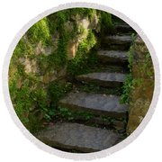 Mossy Steps Round Beach Towel by Carla Parris