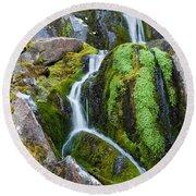 Mossy Waterfall At Snow Lake Round Beach Towel