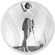 Most Beautiful Golfer Of 1957 Round Beach Towel