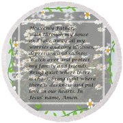 Most Powerful Prayer With Daisies Round Beach Towel