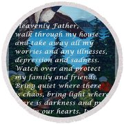Most Powerful Prayer With Goose Flying And Autumn Scene Round Beach Towel