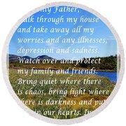 Most Powerful Prayer With Irises Round Beach Towel