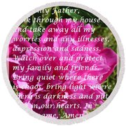 Most Powerful Prayer With Peony Bush Round Beach Towel