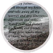 Most Powerful Prayer With Seascape Round Beach Towel