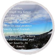 Most Powerful Prayer With Winter Scene Round Beach Towel