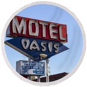 Motel Oasis Round Beach Towel
