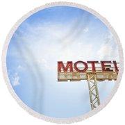 Motel Sign Round Beach Towel