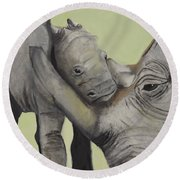 Mother And Baby 1 Round Beach Towel