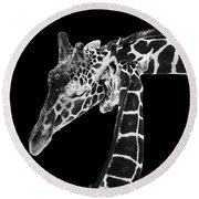 Mother And Baby Giraffe Round Beach Towel by Adam Romanowicz