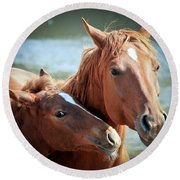 Mother And Filly Round Beach Towel