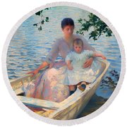 Mother And Child In A Boat Round Beach Towel