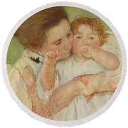 Mother And Child Round Beach Towel