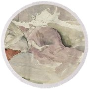 Mother And Child On A Couch Round Beach Towel by James Abbott McNeill Whistler