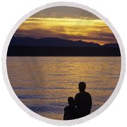 Mother And Daughter Holding Each Other Along Edmonds Beach At Su Round Beach Towel by Jim Corwin