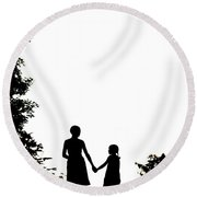 Mother And Daughter Holding Hands Round Beach Towel