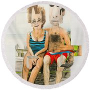 Mother And Father Round Beach Towel