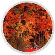 Mother And Son Canoeing Near Fall Round Beach Towel