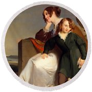 Mother And Son Round Beach Towel