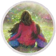 Mother And Twin Girls In Garden Round Beach Towel