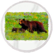 Mother Bear And Cub In Meadow Round Beach Towel