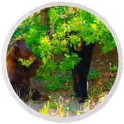 Mother Bear And Cub Round Beach Towel