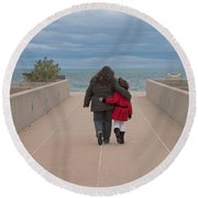 Mother Daughter Moment Round Beach Towel