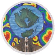 Mother Earth The Beginning Of Time Round Beach Towel