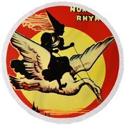 Mother Goose Round Beach Towel by Bill Cannon