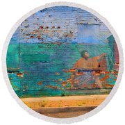 City Mural - Mother Mary Round Beach Towel