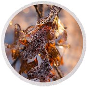 Mother Nature's Christmas Decorations - Golden Oak Leaves Jewels Round Beach Towel