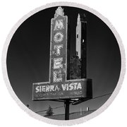Mother Road Motel Black And White Round Beach Towel