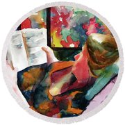 Mother To Be Round Beach Towel