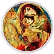 Mother With Child On Horse Round Beach Towel