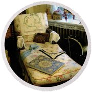 Mother's Chintz Chaise In The Corner Round Beach Towel by RC deWinter