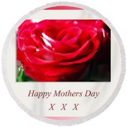 Mothers Day A Red Rose Round Beach Towel