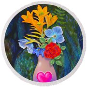 Mothers Day Bouquet Round Beach Towel