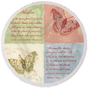 Mothers Day Butterfly Round Beach Towel