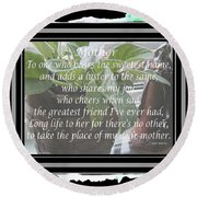 Mother's Day Greeting And Angel Round Beach Towel