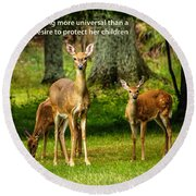 Mother's Protection Round Beach Towel