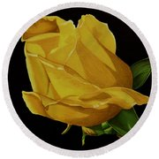 Mother's Yellow Rose Round Beach Towel by Cory Still