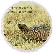 Motivating A Turtle Round Beach Towel by Robert Frederick
