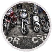 Motor Cycles Round Beach Towel
