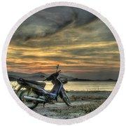 Motorbike At Sunset Round Beach Towel