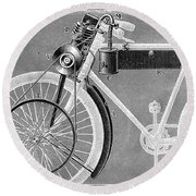 Motorcycle, 1898 Round Beach Towel