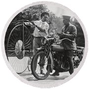 Motorcycle And Velocipede - 1921 Round Beach Towel
