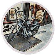 Motorcycle At Philadelphia Eddies Round Beach Towel